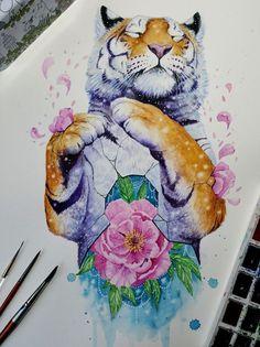 Paintings of animals, animal paintings, animal drawings, watercolor tiger. Colorful Paintings, Animal Paintings, Beautiful Paintings, Animal Drawings, Cute Drawings, Wildlife Paintings, Artist Painting, Painting & Drawing, Watercolor Paintings