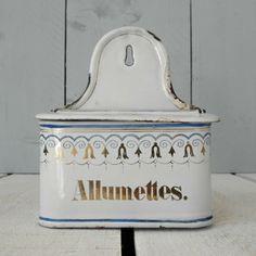 FRENCH ENAMEL ALLUMETTES TIN, £35.00
