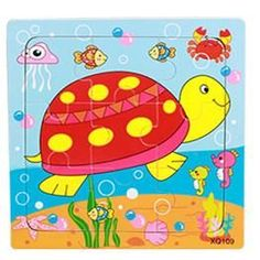 3D Wooden Jigsaw Puzzles Toys Cartoon Animal For Children Cartoon Learning Education Toys 15*15CM