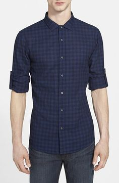 Michael Kors Slim Fit Check Cotton & Linen Sport Shirt available at #Nordstrom