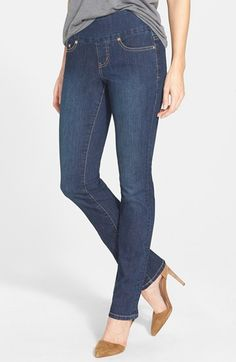 Jag Jeans 'Peri' Pull-on Straight Leg Jeans (Blue Shadow) (Petite) available at #Nordstrom