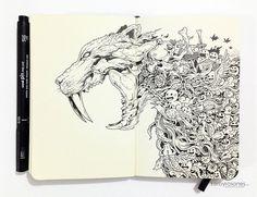 pen-doodles-sabertooth-tiger