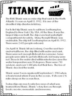 Titanic - Read All About It! by Primary Junction 2nd Grade Reading Worksheets, Third Grade Reading, School Worksheets, Second Grade, Reading Comprehension For Kids, Reading Passages, Titanic Information, Titanic Poster, Teaching History