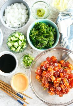 Poke bowls are all the new rage so make your own poke bowl your own by creating a DIY poke bowl bar with all the fresh toppings you want!