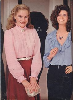 The girl on the right, in the blue blouse, would have been wearing a very low-cut blouse for the 1980s. On the left was pretty everyday 80s style.