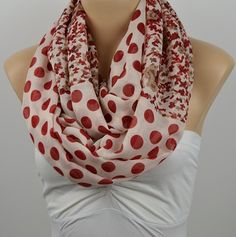 ON SALE  Infinity Scarf Polka dot Scarf Floral by LIFEPARTNER, $16.40