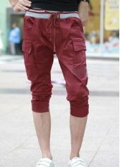 Vogue Elastic Waist Pockets Decoration Deep Red Knee Length Pants Sarouel Pants, Parachute Pants, Elastic Waist, Bermuda Shorts, Joggers, Vogue, Deep, Pockets, Mens Fashion