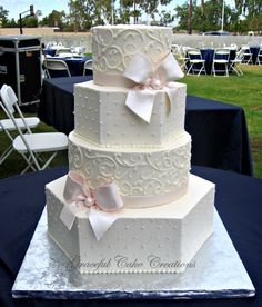 Elegant Ivory Buttercream Hexagon and Round Wedding Cake with Blush Pink Ribbon and Bows | Flickr - Photo Sharing!