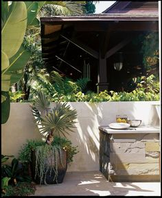 """I want the landscape to have as much importance and value as the house,"" said Jordan Kaplan, the owner of this house and garden in Los Angeles' Pacific Palisades. Check out the photographs of the house's landscape, designed by KAA Design. Tropical Design, Tropical Garden, Tropical Plants, House Landscape, Landscape Architecture, Outdoor Rooms, Outdoor Living, Outdoor Seating, Large Planters"