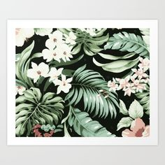 Tropical leaves and flowers in a jungle design in green, pink, blush, cream and greenery tones with a black background. Tropical, Hawaiian, vintage, Summer and modern.
