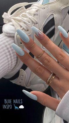 Classy Acrylic Nails, Cute Gel Nails, Acrylic Nails Coffin Short, Blue Acrylic Nails, Edgy Nails, Square Acrylic Nails, Chic Nails, Stylish Nails, Swag Nails