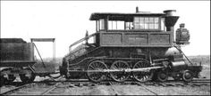 "The ""Camel-Back,"" an appropriately-named locomotive used on American freight trains from 1848 to 1873. The driver's cab was placed on top of the boiler to restrict the overall length of the engine, which had an exceptionally long firebox. Note the fireman's platform in front of the tender."