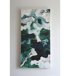 Titre : Let ' s Go / / peinture abstraite Acrylique 12 x 24 / / Green Forest / / menthe / / blanc