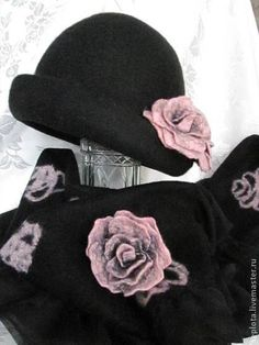 "шляпка валяная "" Дикая роза"" и палантин - валяная шляпка,валяная шапка"