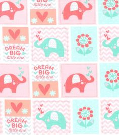 "Nursery Flannel Fabric 42""-Coral Dream Big Patch"