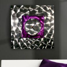 "Modern Abstract Purple/Silver Metal Wall Art Clock Sculpture ""Wind Elemental"""