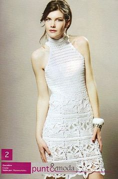 White Flower Motif Dress free crochet graph pattern