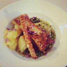 Pork belly with braised spring veg and apple sauce
