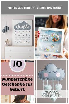 Poster zur Geburt Wolke mit Herzen und den Geburtsdaten - Poster für Kinderzimmer - Printcandy Geschenke Zur Geburt Poster zur Geburt- Sterne und Wolke