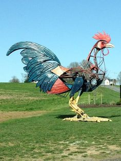 This HUGE, mechanical rooster resides at a nearby farm.
