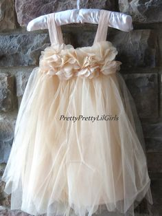 flower girl- toddler girl- little girl- rustic- wedding-sizes 1 thru 6yr- Champagne Girls Tulle Dress- Toddler Lace Dress