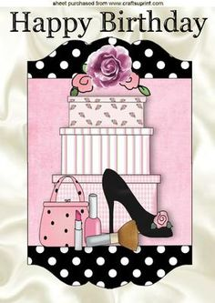 SHOES & HANDBAG WITH GIFTS IN POLKADOT FRAME A4, Makes a lovely card, lots of other designs to see, Also can be seen in A5