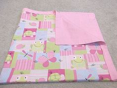 Butterfly Baby Blanket Pink Baby Bedding Frog by TakeTwoBabyQuilts, $30.00