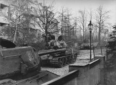 Tanks T-34-85 7th Guards Tank Corps in the Berlin suburb