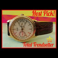 Vintage Citizen Roman Numeral Moon Watch HP HP TOTAL TRENDSETTERCITIZEN 6355-G31191 TA WATCH UNISEX  This beautiful watch is in excellent condition.   The Brown Genuine Leather stamped band is in pristine condition and has never ever been worn. Received as a graduation gift and stored away.  This Roman numeral watch shows time,seconds ,Month, Day and Age of the moon(tiny red moon )  For the watch experts, the movement is 6355 and the case # is G31191 TA.  The watch just needs a new battery…