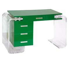 Green and Clear Lucite Desk | From a unique collection of antique and modern desks at https://www.1stdibs.com/furniture/storage-case-pieces/desks/