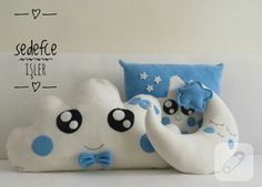 polar yastık takımı yıldız, ay ve bulut şeklinde hazırlandı bebek odaları için. el yapımı dekoratif kırlent modelleri ve bebek takı yastıkları ve daha pek çok dikiş önerisi....