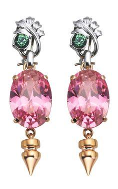 Mawi Spike Oval Gemstone Earrings at Moda Operandi