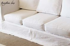 DIY Couch Slip Cover Tutorial. Really informative!