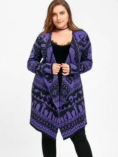 Gamiss Plus Size Halloween Skull Drape Sweater Big Size Winter Women Long Sweaters Open Stitch Knitted Outwear Female Cardigans Cheap Plus Size Clothing, Plus Size Dresses, Plus Size Outfits, Long Sweaters For Women, Cardigans For Women, Plus Size Stores, Plus Size Halloween, Plus Size Cardigans, Drape Cardigan