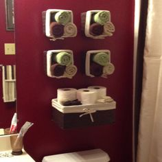 Baskets mounted side ways cheap bathroom decor
