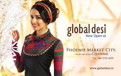 There's an all new GLOBAL DESI in town! Indian Fusion fashion with Bright Colours, Vivid Prints & Discounts Upto At Phoenix Market City Chennai. Global Desi, Bright Colours, Indian Ethnic Wear, Chennai, Styling Tips, Phoenix, Crochet Necklace, Creativity, Bling