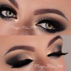 Flawless smokey eye using brown and black eyeshadows and black eyeliner.