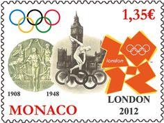 Timbre monégasques - Jeux Olympiques Londres 2012 © Postes monégasques, DR.