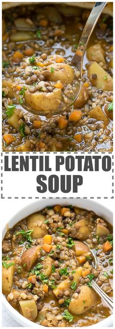 Easy Lentil Potato Soup Recipe - quick and simple to make, chunky, hearty and comforting meal, perfect for the cold weather. Nutritious lentils, rich in protein and fiber, combined with potatoes for a healthy and flavorful soup. via @cookinglsl #YummySoup