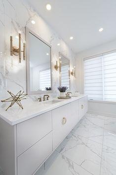 Bathroom Gallery: CHEO Dream Home White Bathroom Marble-Effect Tile