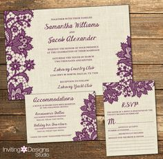 Rustic Wedding Invitation, Burlap Lace, Eggplant Purple, Purple, Country, RSVP Card, Accommodations Card, Wedding Suite (PRINTABLE FILE) by InvitingDesignStudio on Etsy