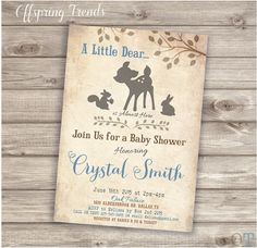 Woodland Dear invitations for Baby Shower or Birthday Bambi deer a little dear on the way baby invitations wood rustic Boy Blue spring