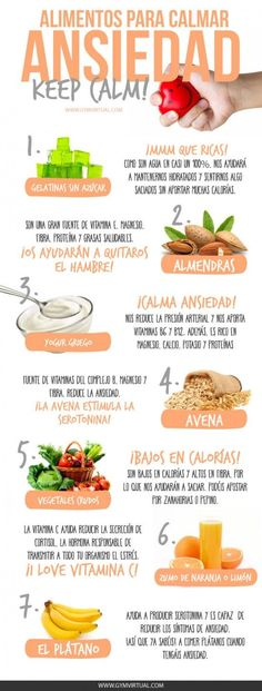 ALIMENTOS PARA CALMAR LA ANSIEDAD Anxiety shines when one is very nervous about something that torments him, produces dizziness, choking and headache, excessive hunger, or a knot in the stomach to those who are closed. Weight Loss Meals, Healthy Tips, Healthy Snacks, Healthy Recipes, Diet Recipes, Gelatina Light, Comida Diy, Nutrition Education, Nutrition Classes