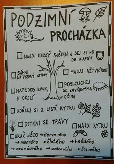 Procházka Outdoor Activities For Kids, Autumn Activities, Games For Kids, Fall Preschool, Preschool Activities, Art For Kids, Crafts For Kids, Class Displays, Forest School
