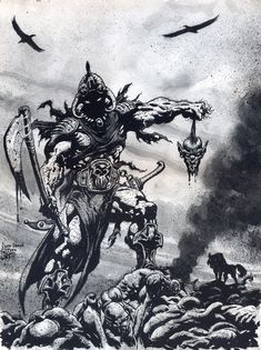 This illustration is based on the characters created by Frank Frazetta: ' Death Dealer' and ' The Swamp Demon'. Description from…
