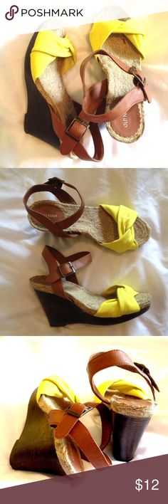 Striking Sandal Old Navy. Yellow fabric, camel colored strap. Faux wooden heel. Old Navy Shoes Wedges