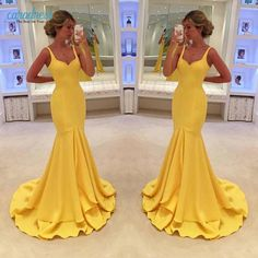 Find More Prom Dresses Information about Simple Yellow Mermaid Prom Dresses Sexy Spaghetti Straps Tier Ruffles 2017 Long Party Dresses Evening Formal Gowns ,High Quality gown city dresses,China gown accessories Suppliers, Cheap gown pink from only true love topseller Store on Aliexpress.com