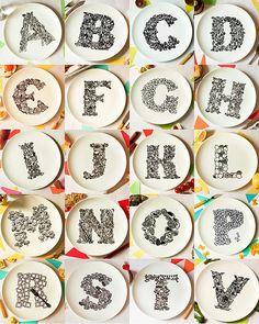 Alphabet plates by justnoey, via Flickr