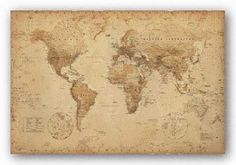 Amazon.com: World Map (Vintage Style) Art Poster Print - 24x36 Poster Print, 36x24 Collections Poster Print, 36x24: Home & Kitchen