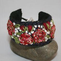 Embroidered Bracelet - Red Roses